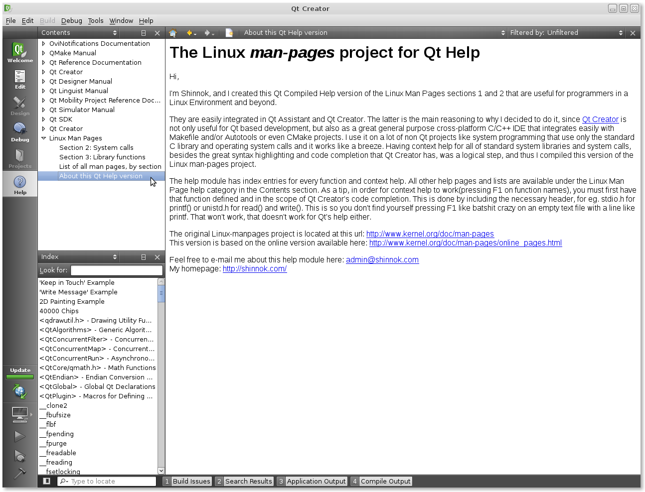 Linux Man Pages integration with Qt Creator