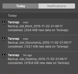 Tarsnap OSX notifications