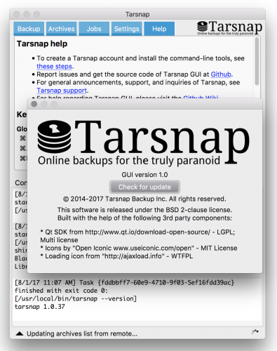 Tarsnap GUI v.10 on MacOS